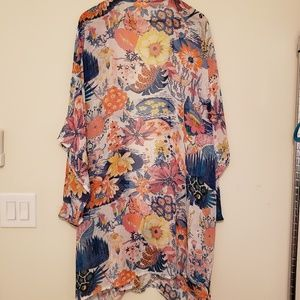 Colorful sheer kimono one size